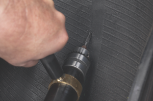 5. using a low speed drill (max. 500-700 rpm) and a 3/16-inch tapered carbide cutter, ream the injury following the angle of penetration from the inside of the tire. use proper eye protection.