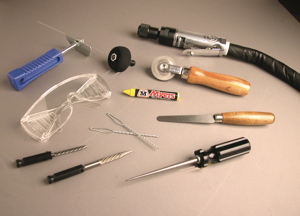 Tools needed for tire puncture repair.