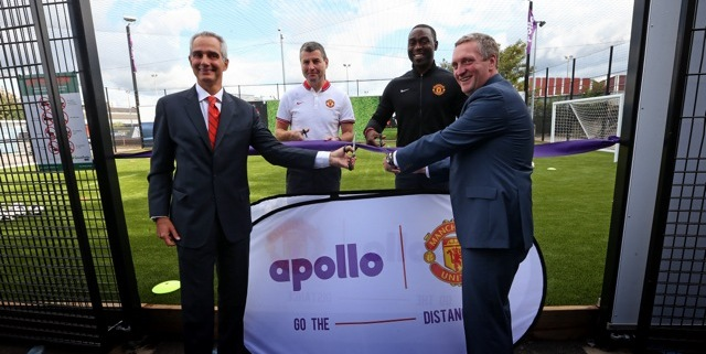 Pitch Perfect (from left to right) - Marco Paracciani (Apollo), Denis Irwin, Andrew Cole and Jonathan Rigby (Manchester United) opening the new recycled tyre rubber pitch