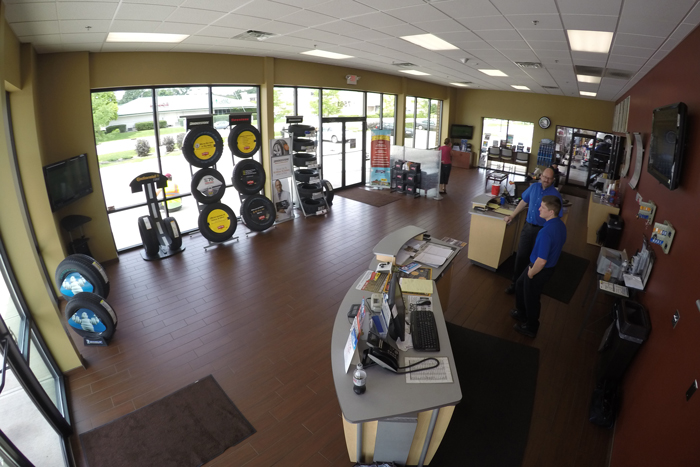Indy Tire has reinvested in its showrooms to create a comfortable environment for staff and customers.