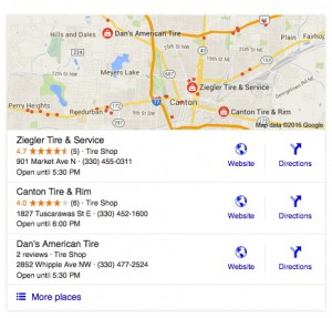Google's local search results now show just three listings.