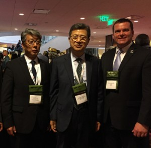 Hee Se Ahn, president of Hankook Tire America Corp.; Seung Hwa Suh, vice chairman and CEO of Hankook Tire Co.; and Barry Jesinoski, executive director of DAV at the DAV National Convention following President Obama's remarks.
