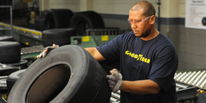 Goodyear racing tire inspection process