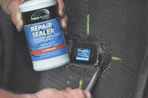 16. apply repair sealer on the overbuff area, and over the edge of the repair unit.