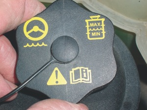 Photo 4: The various symbols on this cap indicate that the reservoir contains power steering fluid and show how to read the fluid level. The