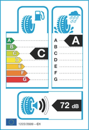 On the new EU tire label, external noise generated by the tire is indicated both in decibels and by black sound waves that indicate the noise class of the tire, from 1 (quiet) to 3 (loud).
