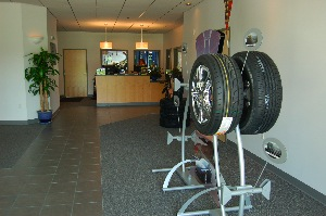 The main floor showroom is simple and uncluttered, without a lot of tire displays.