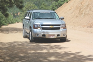 dealer and media attendees drove on an off-road course that wound its way up the side of the mountain, allowing the tires to be tested on loose dirt and gravel.