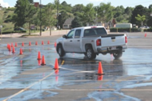 event attendees had the chance to compare goodyears all-terrain adventure against michelins ltx a/t2 on a dry/wet course.