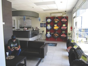 tersa tries to borrow the best of other tire dealerships from around the world in its waiting areas. some have windows that overlook service bays so customers can watch their cars while they wait.