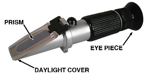 A refractometer, which ranges in price from $100 to $300, can be used for coolant, as well as brake fluid. It samples the moisture content of the fluid by how light is bent as it passes through the fluid and prism of the instrument.