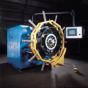 Goodyear's UniCircle retread tire machine.