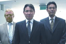 (From left) Wilhelm Hppner, Toyo Tires Europe technical director; Tamotsu Sakuramoto, president; and Tatsuo Mitsuhata, executive vice president.